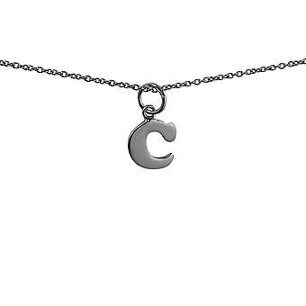Silver 10x10mm plain Initial C Pendant with rolo Chain 14 inches Only Suitable for Children