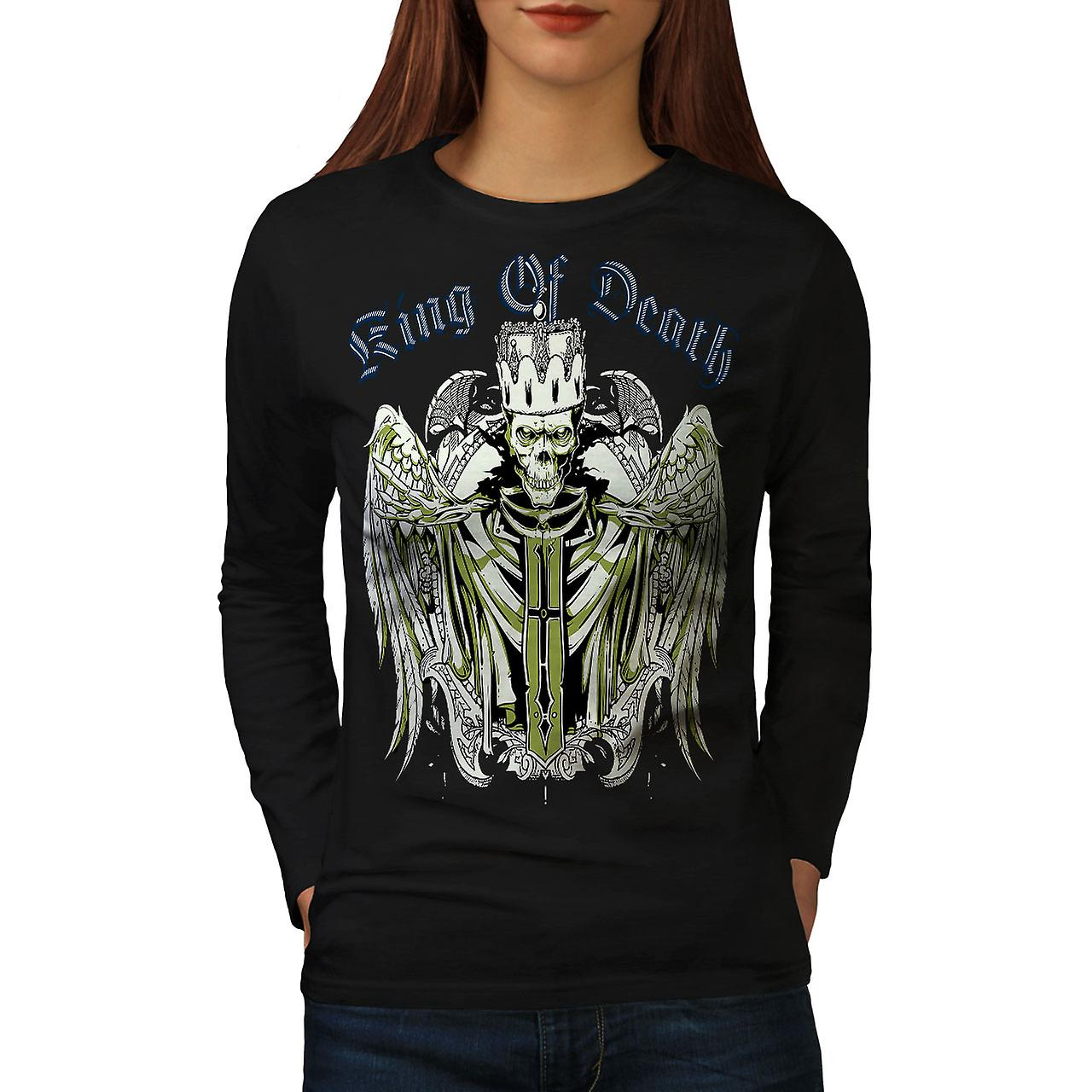 King Of Death Devil Skull Women BlackLong Sleeve T-shirt | Wellcoda