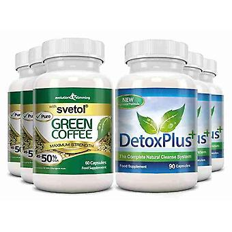 Pure Svetol Green Coffee Bean 50% CGA and Detox Cleanse Pack - 3 Month Supply - Fat Burner and Colon Cleansing - Evolution Slimming