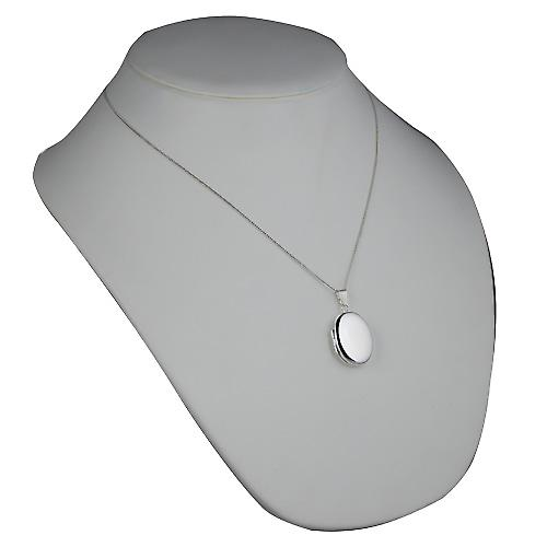 Silver 27x20mm plain oval Locket with a curb Chain 20 inches