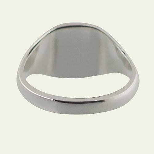 Silver 13x13mm plain solid cushion Signet Ring Size S