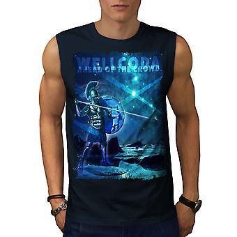 Krigare av utrymme män NavySleeveless T-shirt | Wellcoda