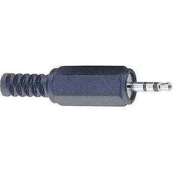 2.5 mm audio jack Plug, straight Number of pins: 3 Stereo Black BKL Electronic 1107002 1 pc(s)