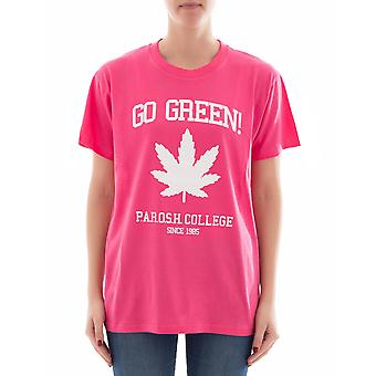 P.A.R.O.S.H. ladies D110022XCOGREEN042 pink cotton T-Shirt