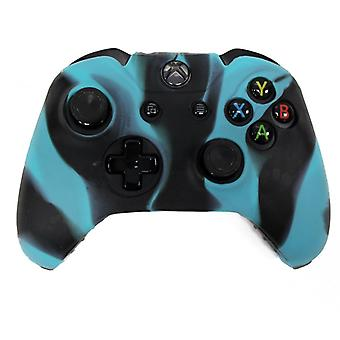 [REYTID] Camo Blue/Black Xbox ONE Controller Skin Silicone Protective Rubber Cover Gel Grip Case - Microsoft 1 Gamepad Pad Control