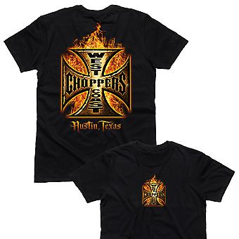 West Coast Choppers T-Shirt In Flames Black