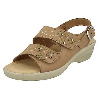 Ladies Padders Hook & Loop Sandals Bluebell - Taupe Nubuck - UK size 5.5E - EU Size 39 - US Size 7.5