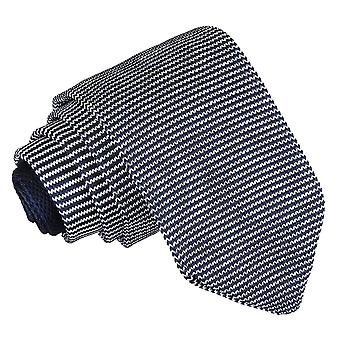 White and Navy Pin Stripe Knitted Slim Tie