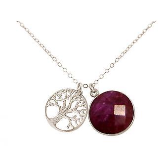 Gemshine - Damen - Halskette - Anhänger - LEBENSBAUM - 925 Silber - Rubin - Rot - 45 cm