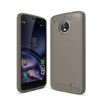 Motorola Moto E4 TPU case carbon fiber optics brushed protection cover grey