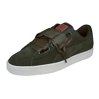 Puma Suede Heart VR Womens Trainers / Shoes - Olive
