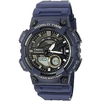 Casio AEQ-110-2AVEF herenhorloges met World Time - blauwe hars riem