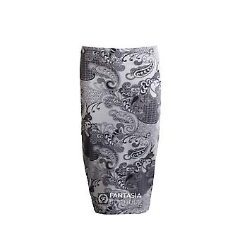 Ladies Black White Paisley Print Midi Women's Skirt