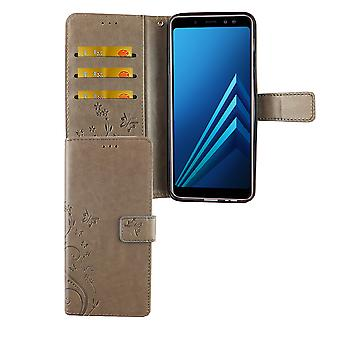 Samsung Galaxy A6+ Plus 2018 Handy-Hülle Schutz-Tasche Cover Flip-Case Kartenfach Grau