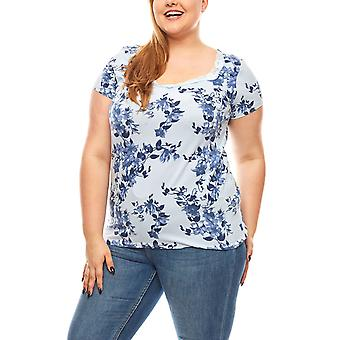 BOYSEN'S ladies T-Shirt with floral pattern large size light blue