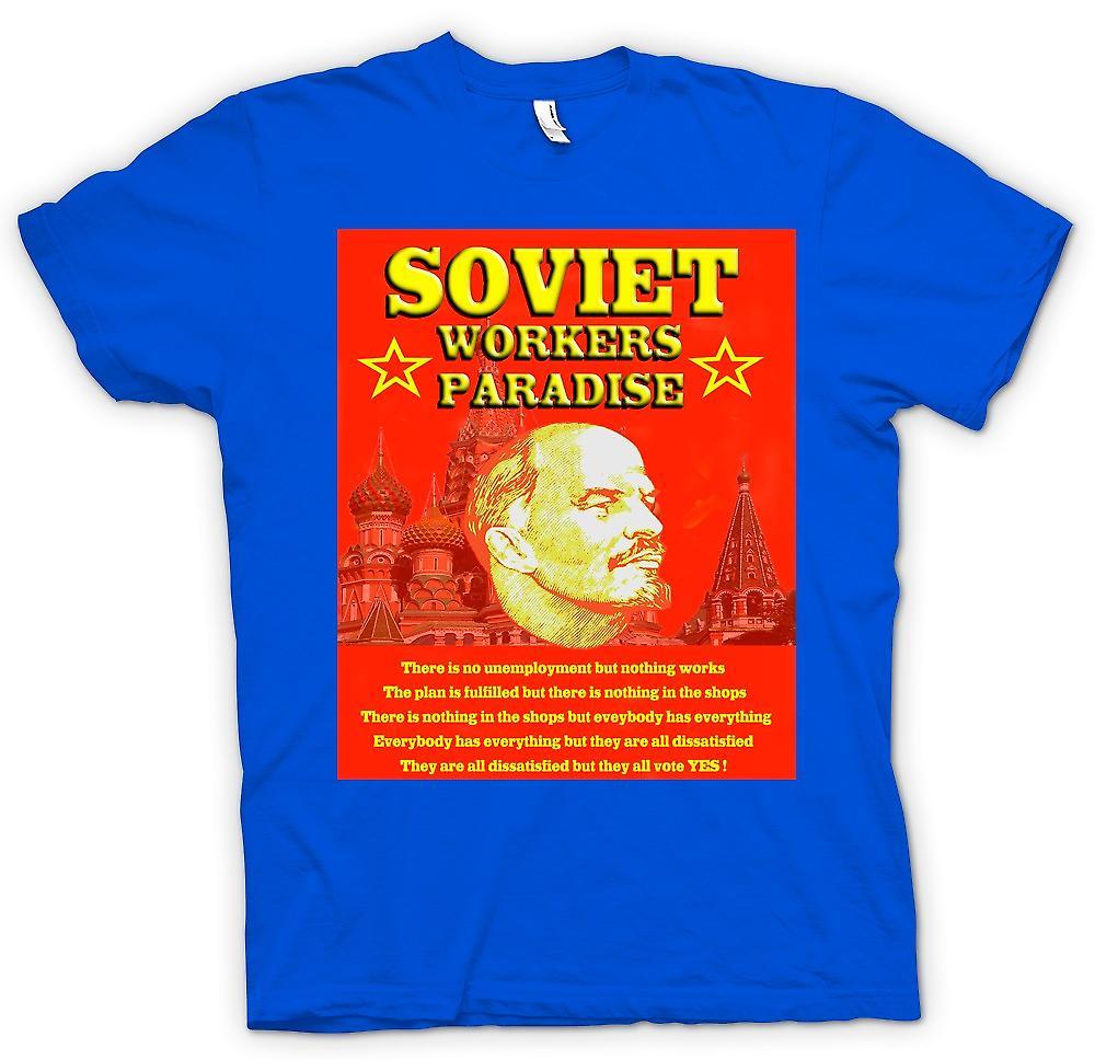 Paraíso de los trabajadores soviéticos mens t-shirt - Lenin-
