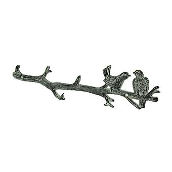 Vintage Grey Cast Iron Lovebirds On a Branch Wall Hook Rack
