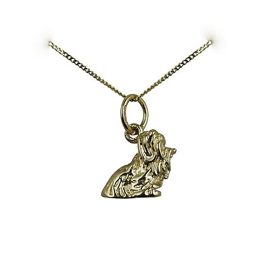 9ct Gold 10x12mm Yorkshire Terrier Pendant with a curb Chain 16 inches Only Suitable for Children