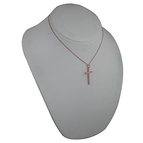 9ct Rose Gold 34x18mm plain solid block Cross with a curb Chain 16 inches Only Suitable for Children