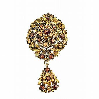 Gold Vintage Style Smoked Topaz Lite Smoked Crystals Brooch