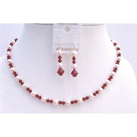 Coral Red Wedding Jewelry Swarovski Coral Crystals & Rose Pink Pearls