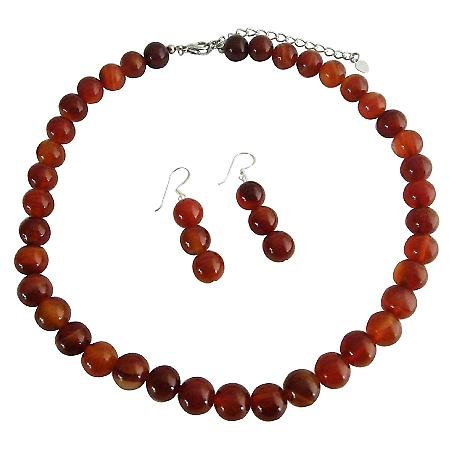 Carnelian Bead 9mm Custom Jewelry Necklace & Sterling Silver Earrings