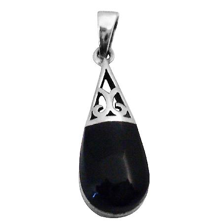 Intricately Pendant Onyx Black Inlay Sterling Silver Teardrop Pendant
