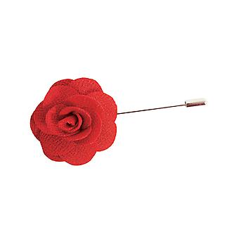 Dobell Mens Red Flower Lapel Pin for Suit, Jacket, Blazer, Wedding Accessory