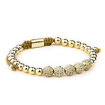 Armbänder-Gold Perlen und weißen Strass, Link