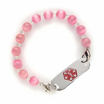 Fashion Alert Stainless Steel Medical ID Pink Acrylic 7.5 Inch bead Bracelet