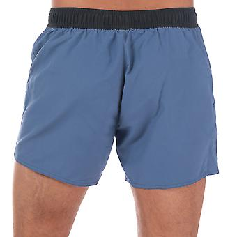 Mens Speedo Vintage Contrast 14� Swim Shorts In Grey Blue- Ribbed Waistband- Zip