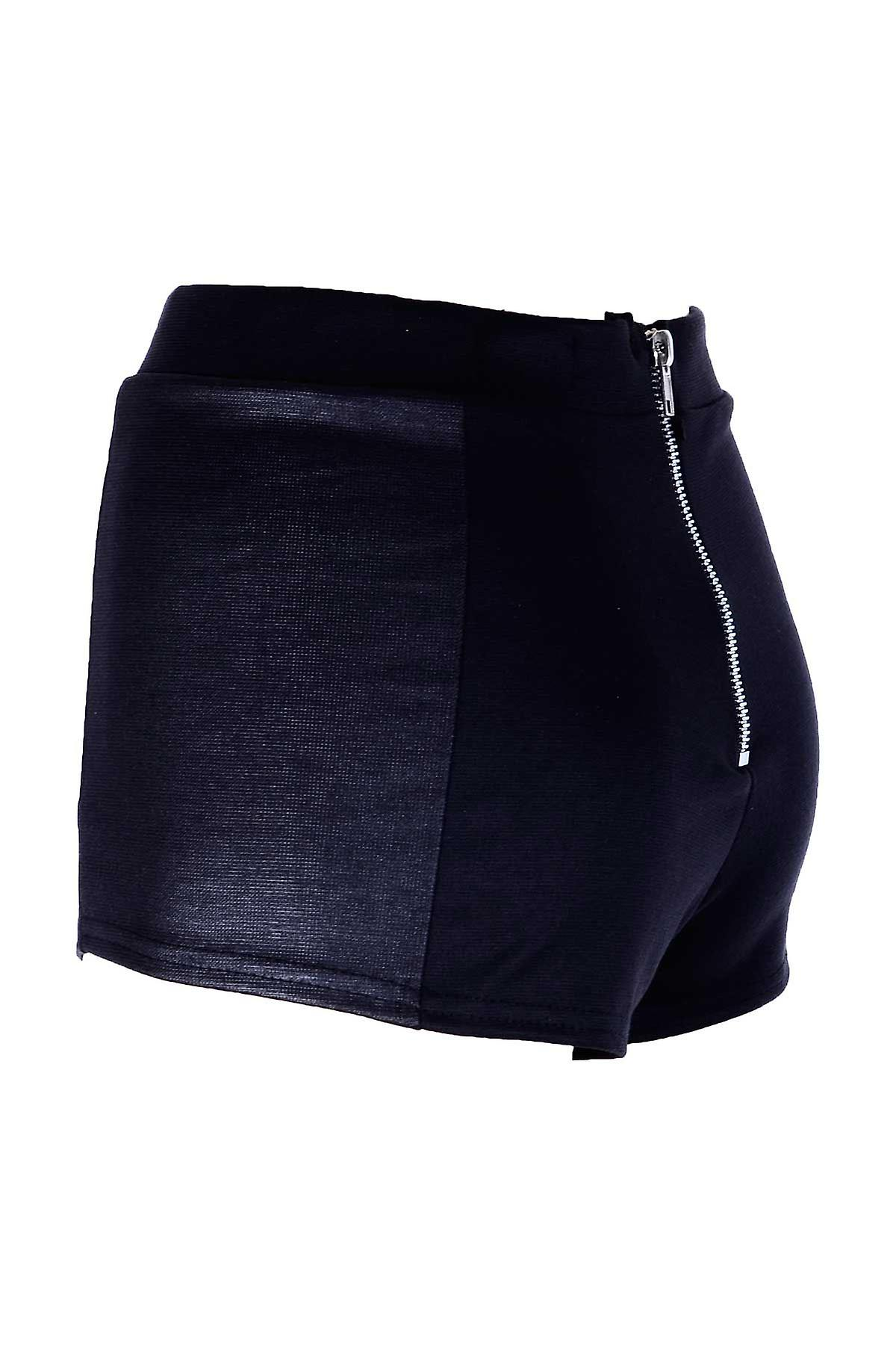 Ladies Black Side Panel PVC Wet Look Womens Mini Shorts Hotpants