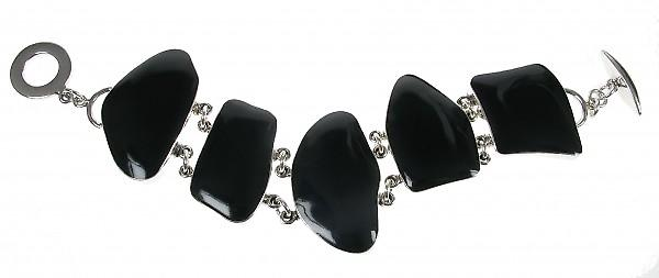 Cavendish French Sterling Silver and Black Agate Abstract Bracelet