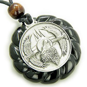 Amulet Howling Wolf Eagles Magic Circle Black Agate Pendant Necklace