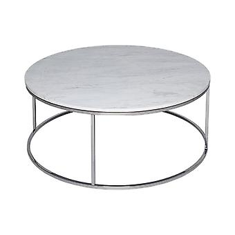 Gillmore Space White Marble And Silver Metal Contemporary Circular Coffee Table