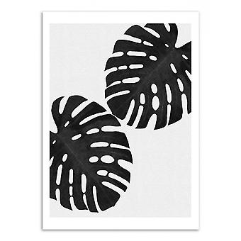 Art-poster-monstera blad svart och vitt-Orara Studio 50 x 70 cm