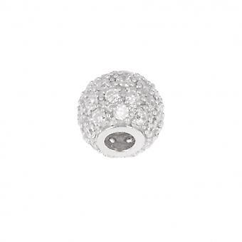 Pendentif Argent Rhodié Boule Avec Cubic Zirconia