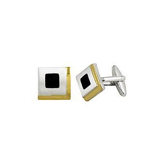Eternal Collection Stile Due Toni Oro e Nero Smalto Square Cufflinks