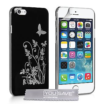 YouSave Accessories iPhone 6 and 6s Floral Butterfly Hard Case BlackSilver