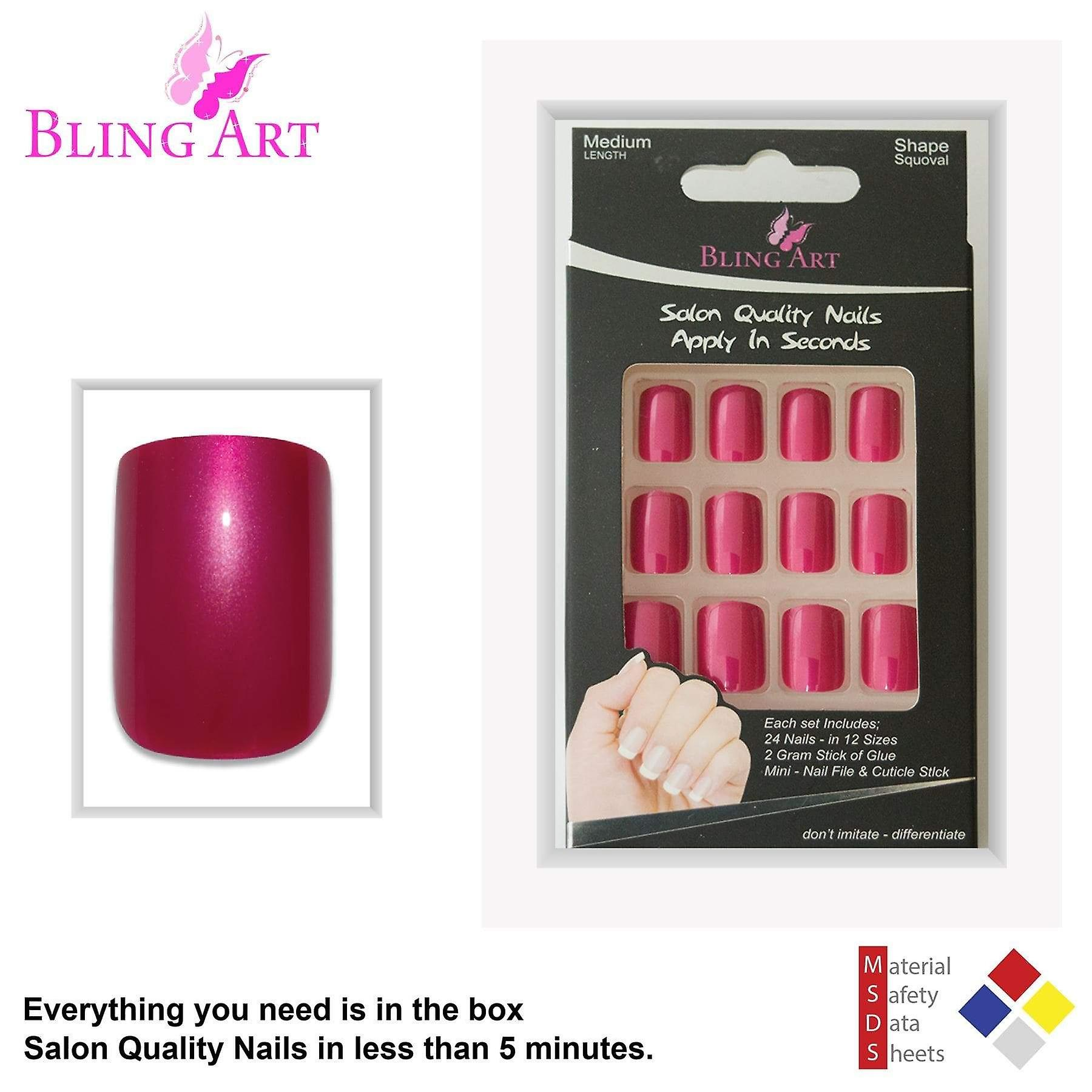 False nails by bling art red glitter french squoval 24 fake medium acrylic tips