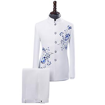 Allthemen mäns tuxedos kinesiska tunika kostym broderad kavaj & byxor