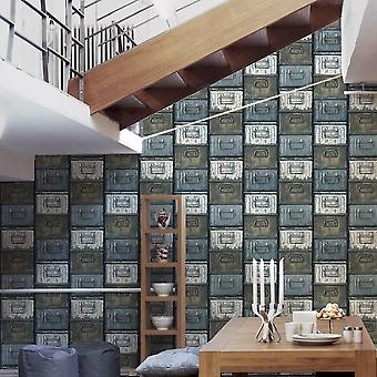 A.S. Creation AS Creation Metal Box Mural Pattern Wallpaper Vintage Realistic Textured 306751