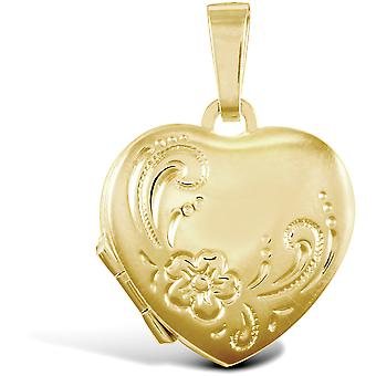 Jewelco London Ladies 9ct Yellow Gold Engraved Love Heart 4 Picture Family Locket Pendant
