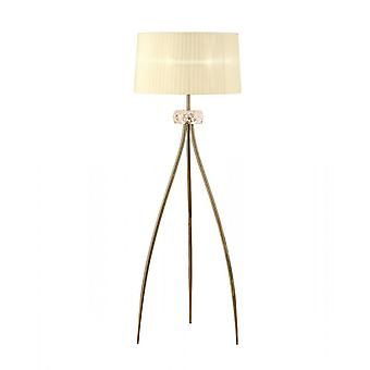 Mantra Loewe Floor Lamp 3 Light E27, Antique Brass With Cream Shade