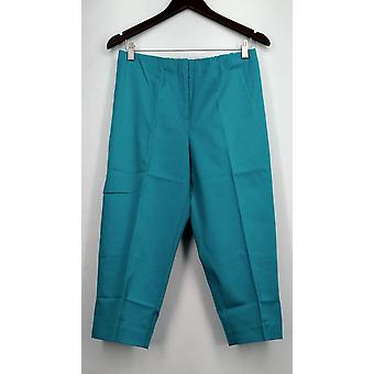 Susan Graver Pants Coastal Stretch Comfort Waist Capris Teal Blue A265857