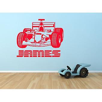 Personalised Boys Racing Car Name Wall Sticker Kids Bedroom Decal