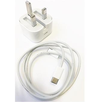 Offizielle Apple A1696 MU7W2B/A 18W UK 3 Pin USB Typ C Ladegerät Kopf Stecker Netzteil für iPad Pro (USB-C) mit USB C Ladekabel (1m) MUF72ZM/A - Weiß (Bulk Packed)