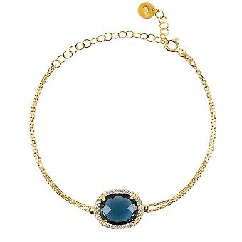 Bracelet Gold Sapphire Blue Large Gemstone Chain Gift Wedding 925 Sparkle Bold