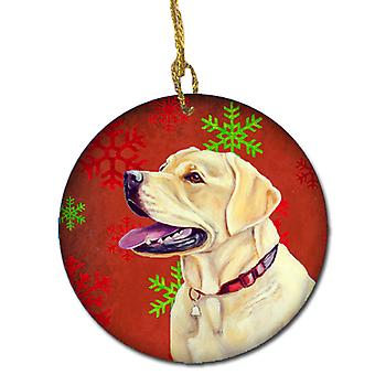 Labrador Red Snowflake Holiday Christmas Ceramic Ornament LH9338