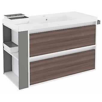 Bath+ Sink Cabinet 2 Drawers With Resin Fresno-White-Grey 100Cm